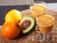 Рецепта Смути с авокадо, моркови и портокал